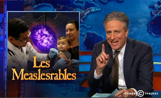 Jon Stewart Takes a Jab at the Measles and Anti-Vaxxers